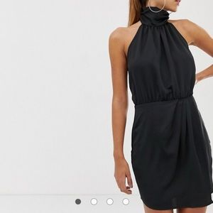 NEW Black Ruched Halter Mini Dress